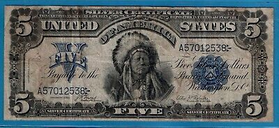 "***  1899  $5.00 Silver Certificate  "" Chief Note  """""