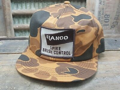 Vintage ELANCO Camo SnapBack Trucker Cap Hat Patch K PRODUCTS Made In USA Brown