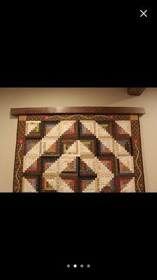 Cherry Wood Quilt Rug Textile Wall Hanger