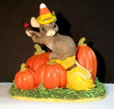 """Charming Tails """"the Good Witch"""" Halloween Figurine Mouse Broomstick Pumpkins"""