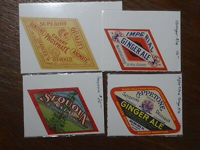 Four Diamond Soda Labels - Ginger Ale, Cherry