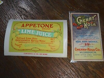 Pair of Vintage Soda Labels - 1920's Lime and 1902 Cherry Kola