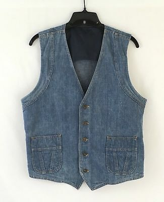 Vintage 70s Lee USA Jean Denim Western Vest 5 Button Size 40 Regular M