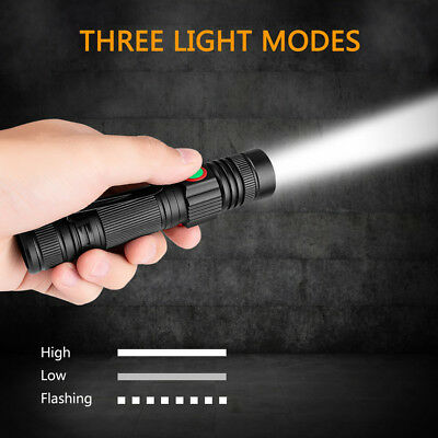 3 Modes Zoomable XML-T6 LED Flashlight USB Rechargeable Super Bright Torch Lamp