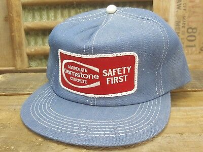 Vintage CEMSTONE Denim SnapBack Trucker Hat Cap Patch K PRODUCTS Made In USA