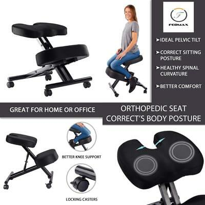 Kneeling Chair Orthopedic Back Pain Seat Helps Prevent Coccyx Fabric Manual