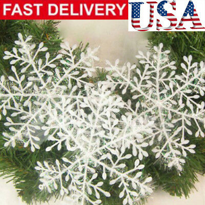 60Pcs Classic White Snowflake Ornaments Christmas Holiday Party Home Decor Pop