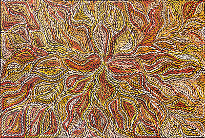 Rosemary Petyarre , Highly Collectible Aboriginal Art, 90cm x 60cm Bush Leaves