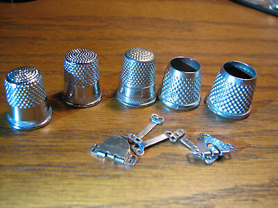 Lot Of 5 Vintage Metal Thimbles Standard / 2 Tailors Thimbles Stamped Germany