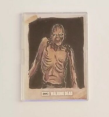 2017 Topps The Walking Dead Sketch Card Zombie by Nick Justus