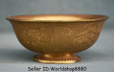 """4.6"""" Marked Rare Old Chinese Copper Gilt Dynasty Palace Phoenix Birds Bowl Bowls"""