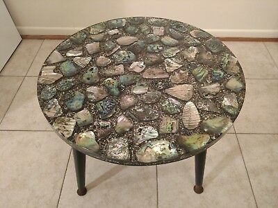 "Vintage 1960's Abalone Shell Lucite Top End Table Midcentury Retro 18"" D"