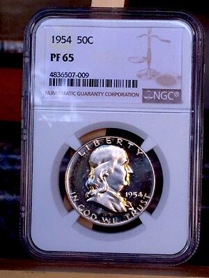 1954 Franklin Half NGC PF 65 * Price Guide $92 - Close to cameo! *