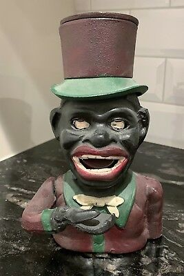 Black Americana: Jolly Top Hat Tophat Cast Iron Mechanical Bank