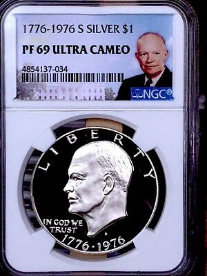 1976-S Silver Bicentennial IKE NGC PF 69 Ultra Cameo * TOP POP Price guide $70 *