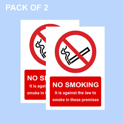 No Smoking Warning Sign, A6 Pack Of 2 - 100mm x 150mm Screen Printed PREMIUM