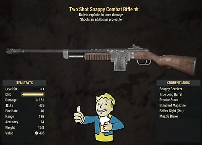 Fallout 76 - 2Shot & Explosive Combat Rifle LVL50 (PS4 ONLY)