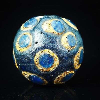 Antique Stratified eye bead Byzantine Translucent Blue Islamic Glass  bead RARE!