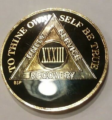 """33 Year AA Coin BLACK Enamel, Gold, Nickel 1⅜"""" Traditional Size Recovery XXXIII"""