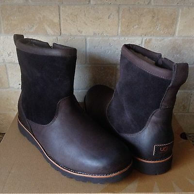 75be31f177d UGG HENDREN TL Stout Brown Waterproof Leather Fur Winter Boots Size Us 13  Mens