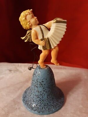 Vtg Plastic Christmas Tree Ornanament Angel Bell Accordian Singing Mica Glitter