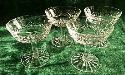 Lot of 4 Waterford Lismore Champagne Glasses Sherbet Dessert Dishes Crystal EUC!