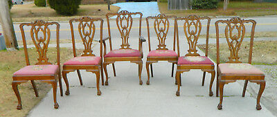 Set of 6 Chippendale Tiger Oak Dining Chairs~~1 Arm~~5 side circa 1890