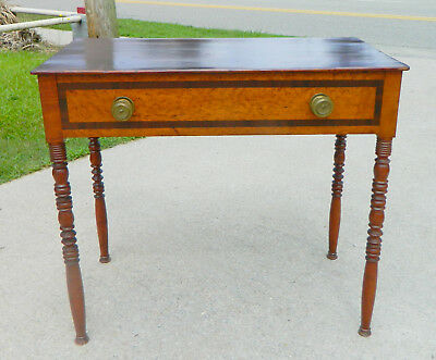 Mahogany and Maple Two Drawer Work table~~19th Century