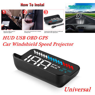 Head Up Display HUD USB OBD GPS Universal Car Windshield Speed Projector Tools