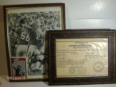 CHARLEY JOHNSON AUTOGRAPH 1992 ring of fame & 1987 Crush card BRONCOS