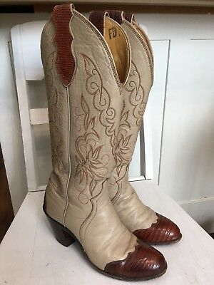 Justin Two-Tone Brown and Beige High Leather Pull-on Cowboy Boots Size 5.5