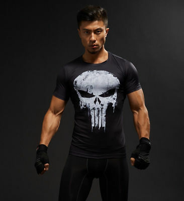 Punisher Skull T-Shirt Men Tights Tops 3D Printed Short Sleeve Gym T-Shirts