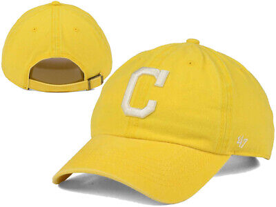 brand new 403d9 04604 Cleveland Indians  47 MLB Summerland CLEAN UP Cap Yellow Buckle Strapback  Hat