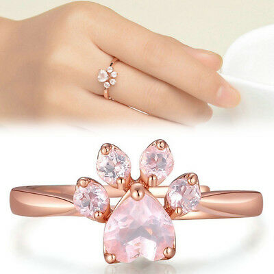 Pet Lovers Fashion Jewelry Cubic Zirconia Cat Dog Paw Print Ring Open Band 1PC
