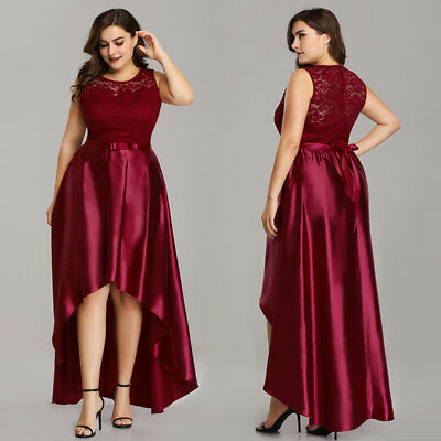 US LONG PLUS Size High-low Burgundy Prom Gowns Lace Formal Evening Dresses  Maxi