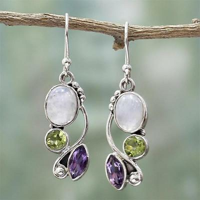 Silver Plated Jewelry Amethyst Earrings Women Moonstone Ear Drop Dangle Gifts