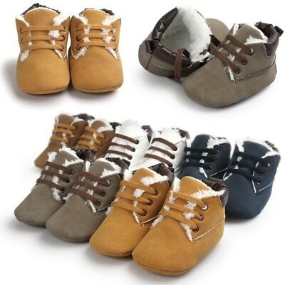 UK Baby Kids Fleece Winter Warm Boots Pram Shoes Toddler Boy Anti-slip Sneaker