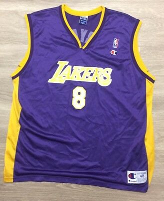 56225a901167 Vintage Champion NBA Los Angeles Lakers Kobe Bryant Rookie Jersey Purple  Sz48  8