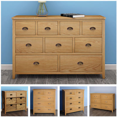 Solid Oak Chest Of Drawers Sideboard Cupboard Storage Unit Wooden Cabinet Home