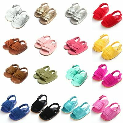 Toddler Baby Girls Leather Tassel Sandals Girl Anti-Slip Soft Sole Crib Shoes AU