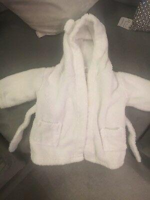 Baby dressing gown, white, 0-6 months, little white company