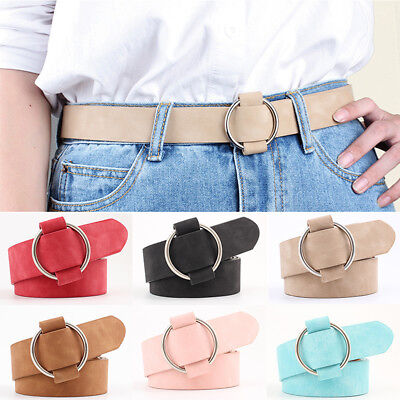 Simulated Leather Belt Solid Color Round Circle Buckle Simple Waist Belt Women