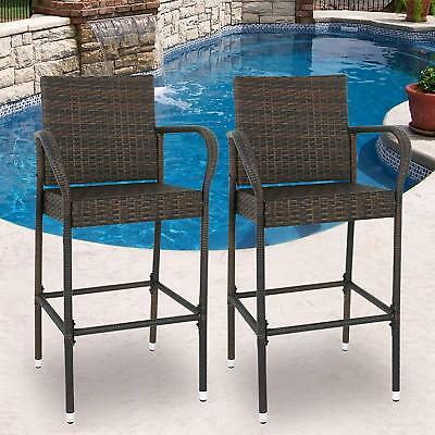 USED Set of 2 Brown Wicker Bar Stool Furniture Outdoor Backyard Rattan Chair