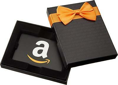 $50 Amazon.com Gift Card Black Gift Box (Classic Black Card Design) - Super Fast