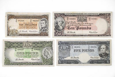Set of Reserve Bank 1961 Predecimal Coombs Wilson Australian Banknotes