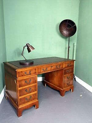 An Antique Style Yew Twin Pedestal Leather Desk ~Delivery Available~
