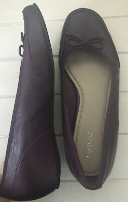 Women's Shoes PORTLAND Purple LEATHER BALLET WEDGES  SIZE: 8