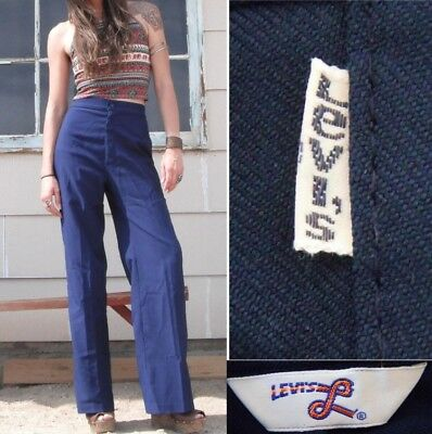 Vintage 70s Levi Navy Blue Bell Bottom Flared High Waisted Pants.S