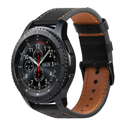 For Samsung Galaxy Watch 46mm / Gear S3 Frontier / Classic Genuine Leather Band