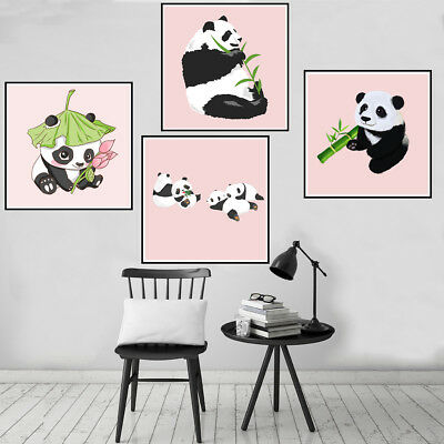 Cut Panda Canvas Art Painting Poster Living Room Picture Wall Home Decor Gift